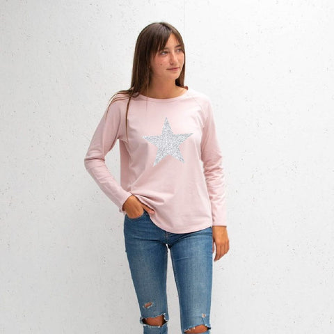 Long Sleeve Pink T-Shirt With Sparkle Star