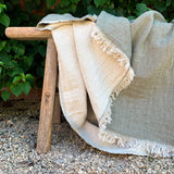 Cotton Throw in Olive Green and Natural