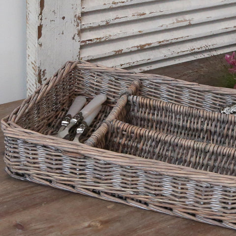 Wicker cutlery tray