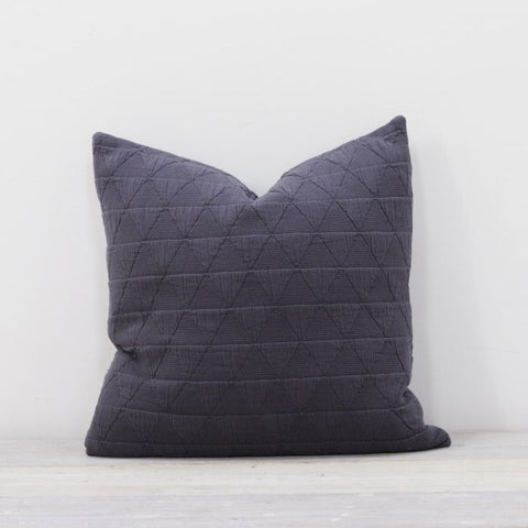 Large Square Cotton Cushion in Slate Grey