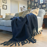Mohair Wool Blend Throw in Midnight Blue
