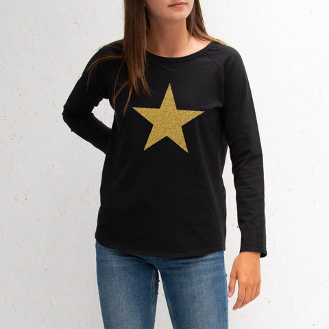Long Sleeve Black T-Shirt With Gold Sparkle Star