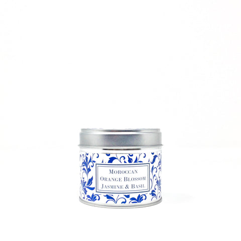 Moroccan Orange Blossom, Jasmine and Basil Candle in a Tin