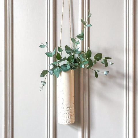 Speckled Ceramic Hanging Vase