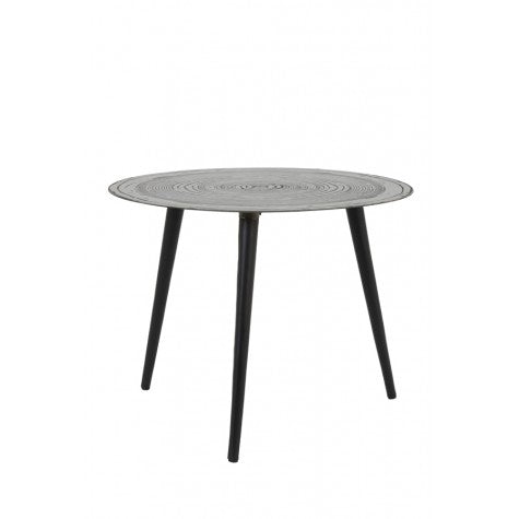 Matt Embossed Tin Top Round Side Table