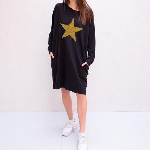 Jersey Dress in Black With Gold Star