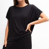 Drape Jersey Top - Black