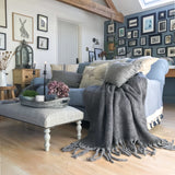 Mohair Wool Blend Throw in Ash Grey