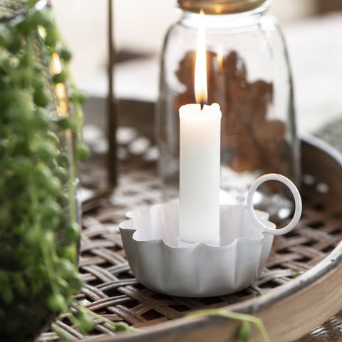Enamel Candle Holder in White