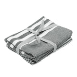 Pair of Cotton Teatowels Dark Grey Stripe