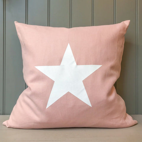 Pink Linen Cushion with White Star 50cm