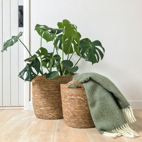 Rustic Natural Woven Planter Large