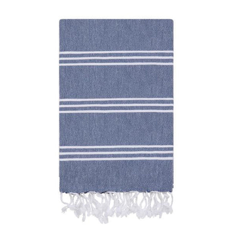 Fine Stripe Hamam Towel in Denim