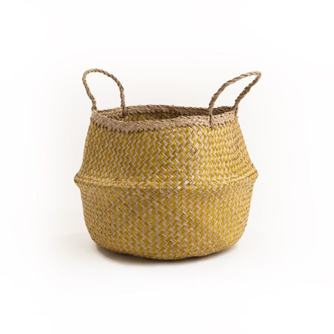 Large Zig Zag Belly Basket in Yellow