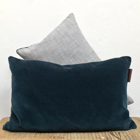Velvet Rectangle Cushion in Deep Ocean