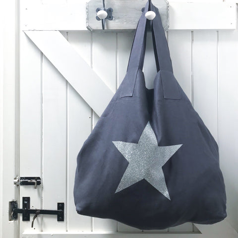 Charcoal Linen & Sparkle Star Shopper
