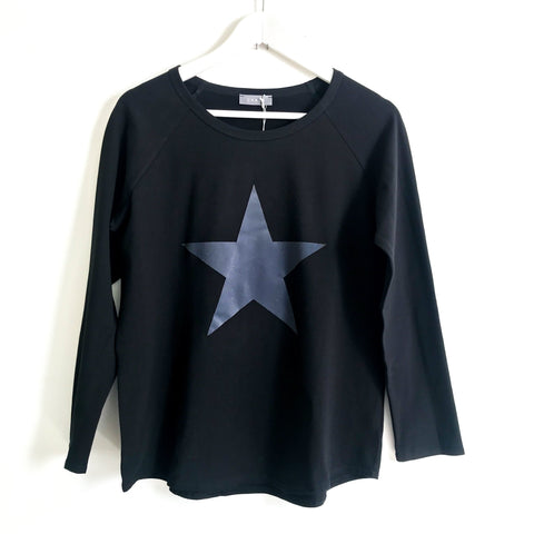 Long Sleeve Black T-Shirt With Grey Star