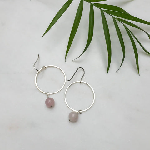 Silver Hoop Earrings with Rose Quartz Bead