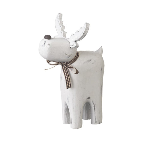 Small White Wooden Reindeer