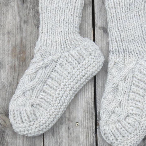 Handknitted Cable Slipper Socks in Natural
