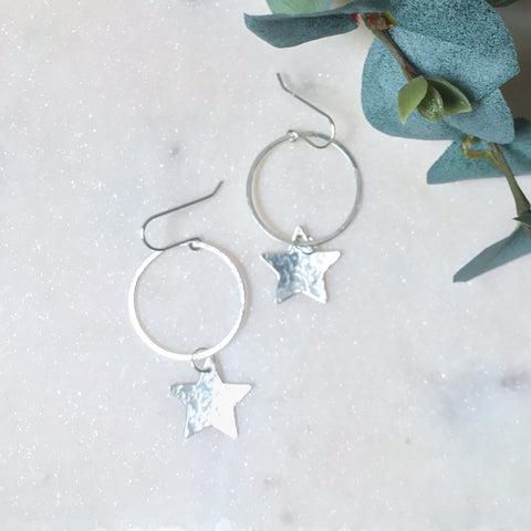 Hoop Earrings with Large Star Charm