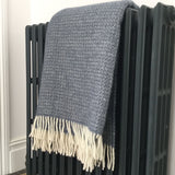 Pure New Wool Throw in Blue Slate Illusion Design
