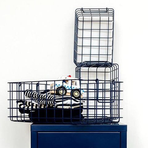 Set of 3 Wire Baskets in Navy Blue