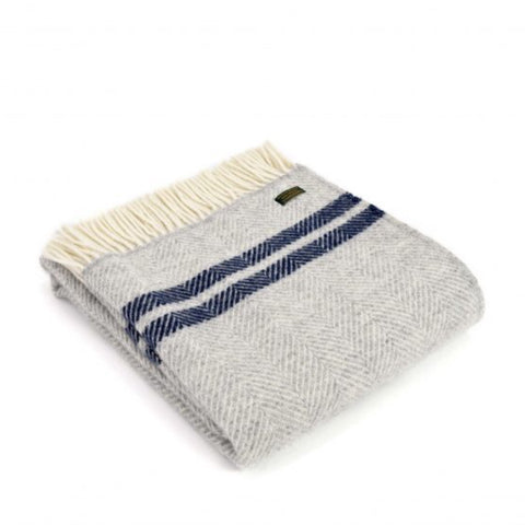 Pure New Wool Throw in Grey and Navy French Stripe