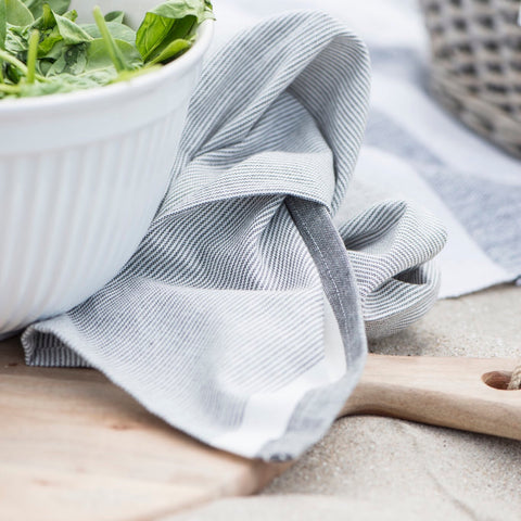 Grey Fine Stripe Cotton Teatowel