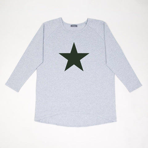 Star Top in Grey with Khaki Star