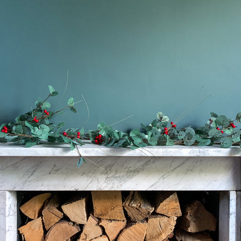 Eucalyptus Garland with Red Berries