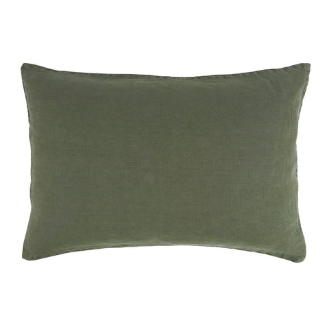 Linen Rectangle Cushion in Dark Green