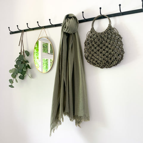 Soft Cotton Scarf in Olive Green