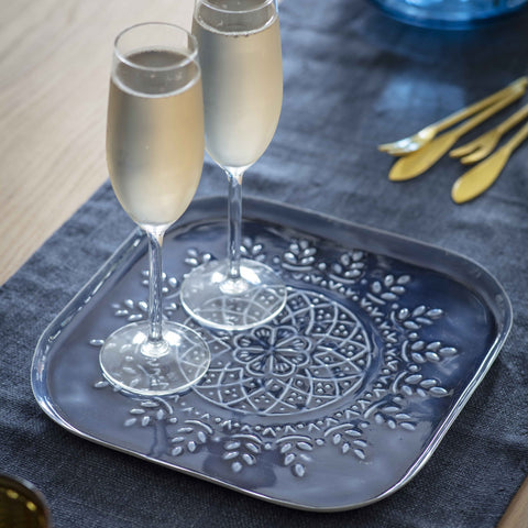 Blue Embossed Square Tray