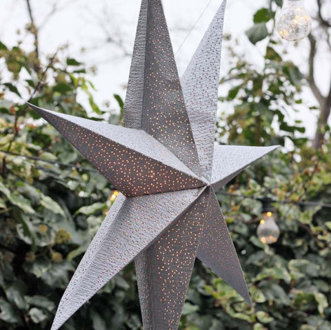 Silver Light Up Paper Star 75cm