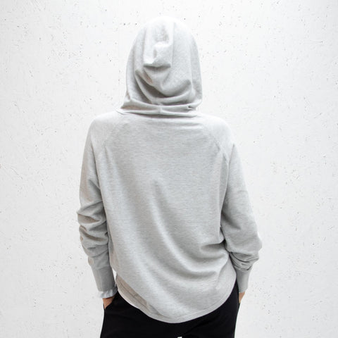 Soft Knit Hooded Sweatshirt - Light Grey