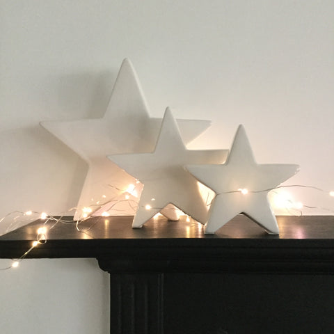 White Ceramic Star Decorations