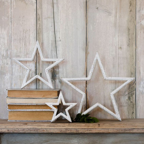White Painted Wooden Star - Small