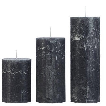 Rustic Pillar Candles in Charcoal Grey