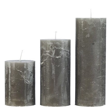 Rustic Pillar Candles in Grey