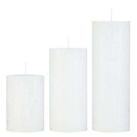 Rustic Pillar Candles in White