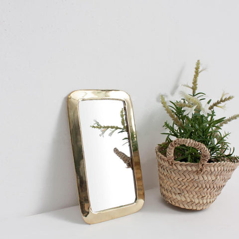 Brass Rectangular Mirror Small