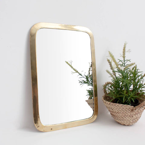 Brass Rectangular Mirror Large