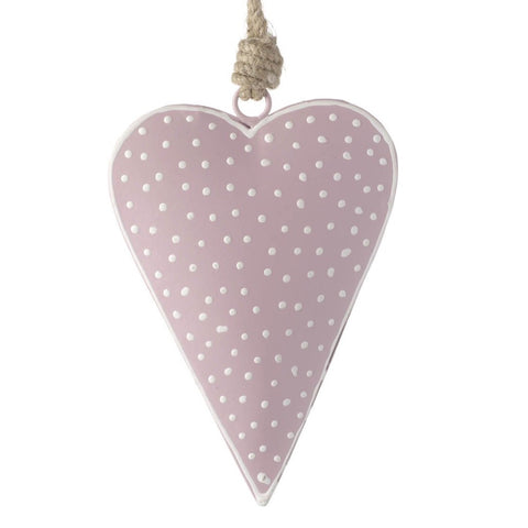 Spotty Hanging Metal Heart Pink