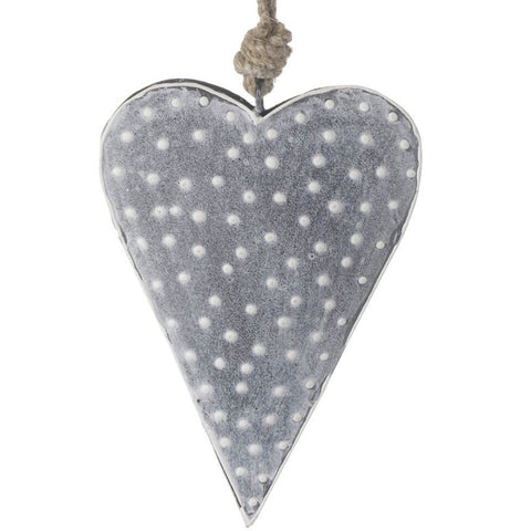 Spotty Hanging Metal Heart Grey