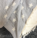 Cotton Star Throw with Fleece Lining