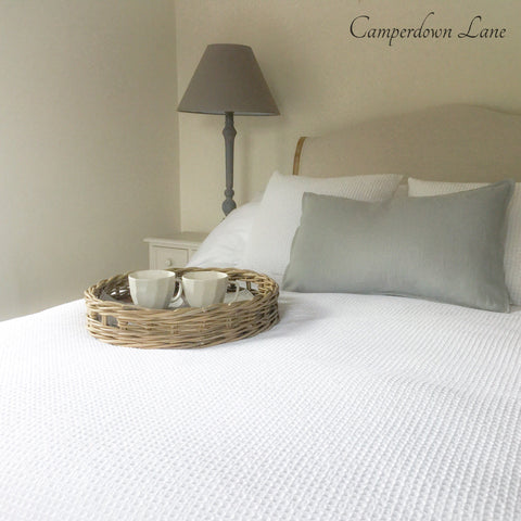 White Cotton Waffle Throw Bedspread