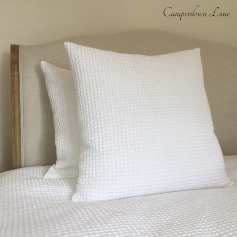 White Waffle Cotton Cushion with Feather Pad