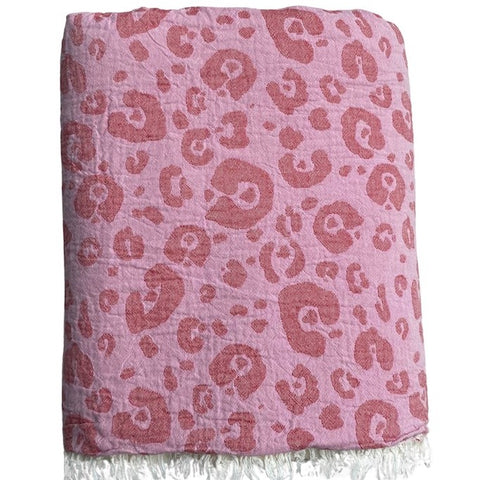Animal Print Throw with Fleece Lining in Pink