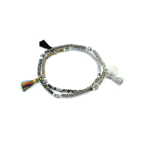 Tassel Stretchy Wrap Bracelet in Grey